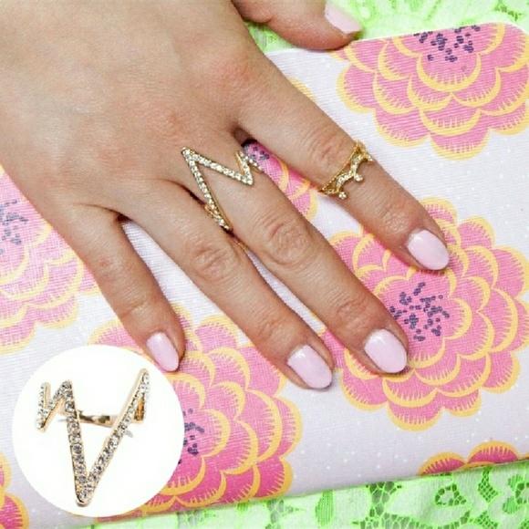 T&J Designs Jewelry - 18k Gold Pave Czech Crystal EKG Ring